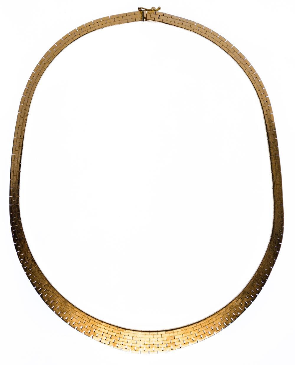 14k Yellow Gold Brushed Choker Necklace