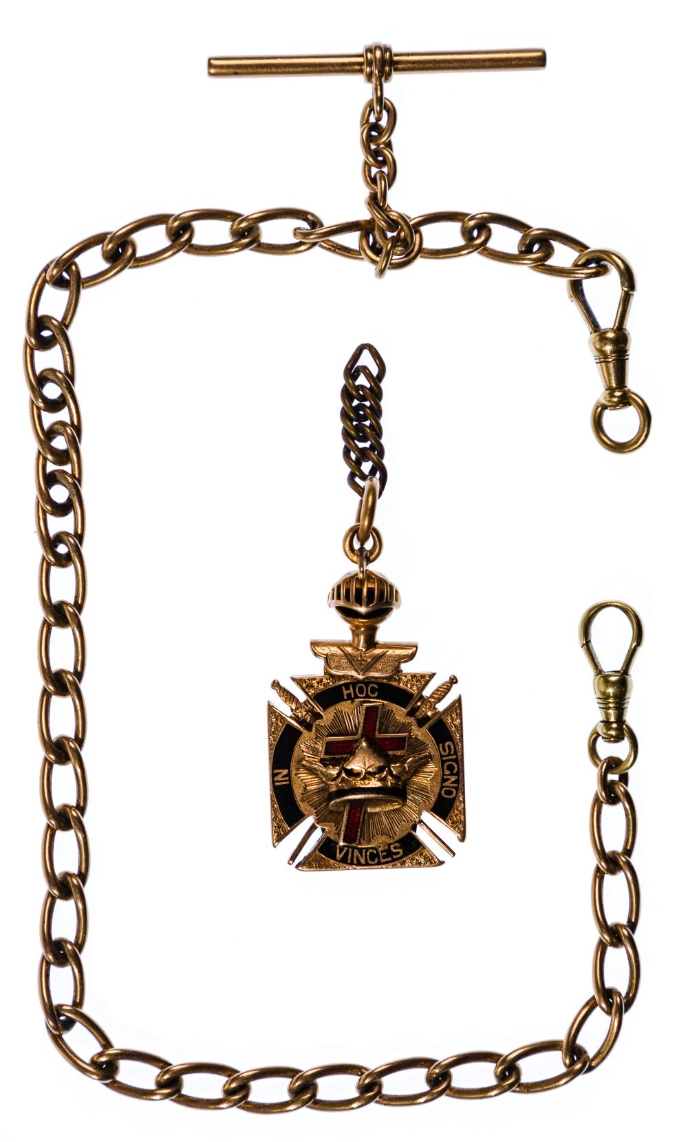 14k Yellow Gold Watch Chain and Fob