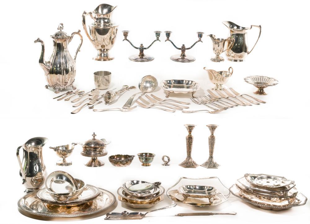 Silverplate Hollowware and Flatware Assortment