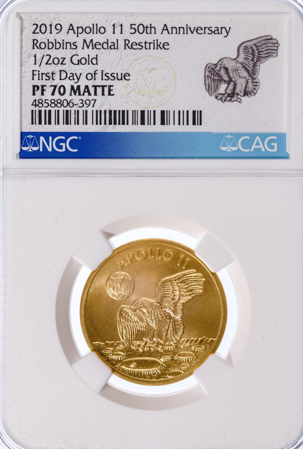 2019 Apollo 11 50th Anniversary 1/2oz Gold Robbins Medal Restrike PF-70 Matte NGC