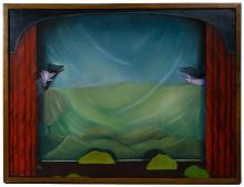 Eleanor Spiess-Ferris (American, b.1941) 'Dog and Swan' Oil on Board