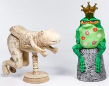 Oscar Garcia Segui and Carved Wood Frog Figurines