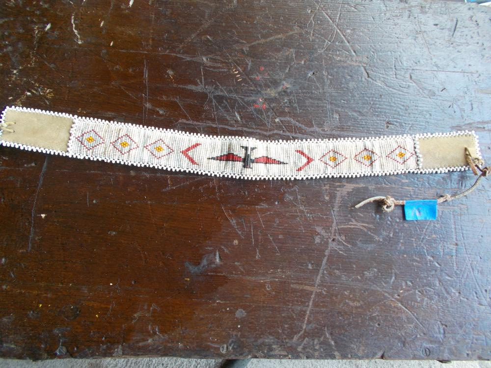 A Loom Beaded Leather Backed Hat Band