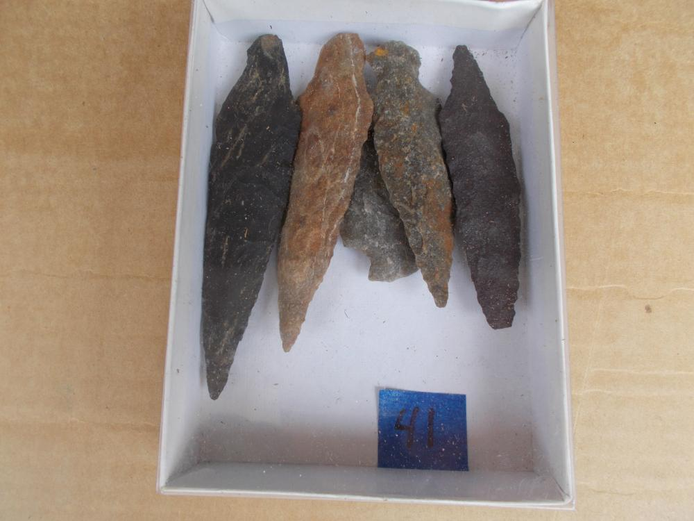 "5 Local ""Archaic"" Era Spear Points"