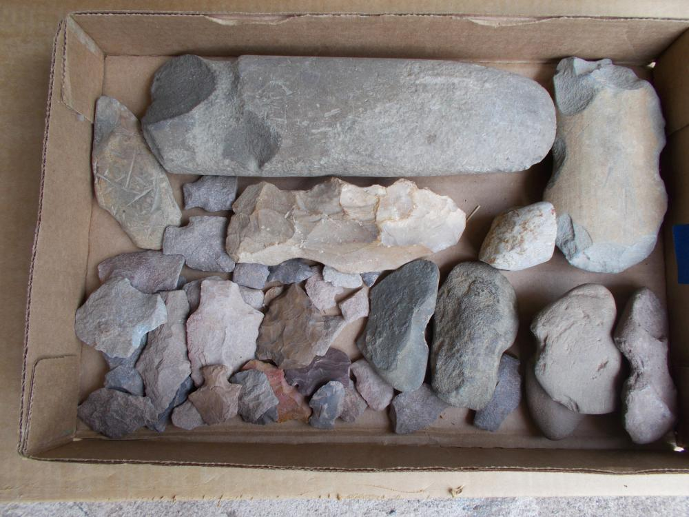 A Boxed Group Of Local Artifacts-Points, Axe, Etc.
