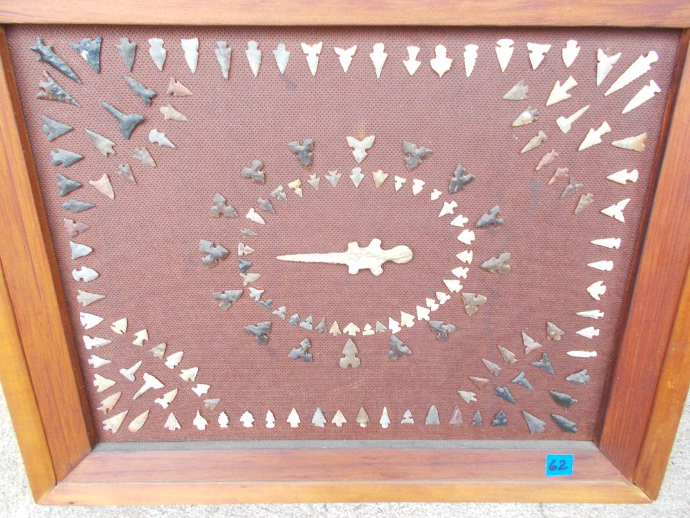 155 Mini Flint Bird Points In A Framed Display