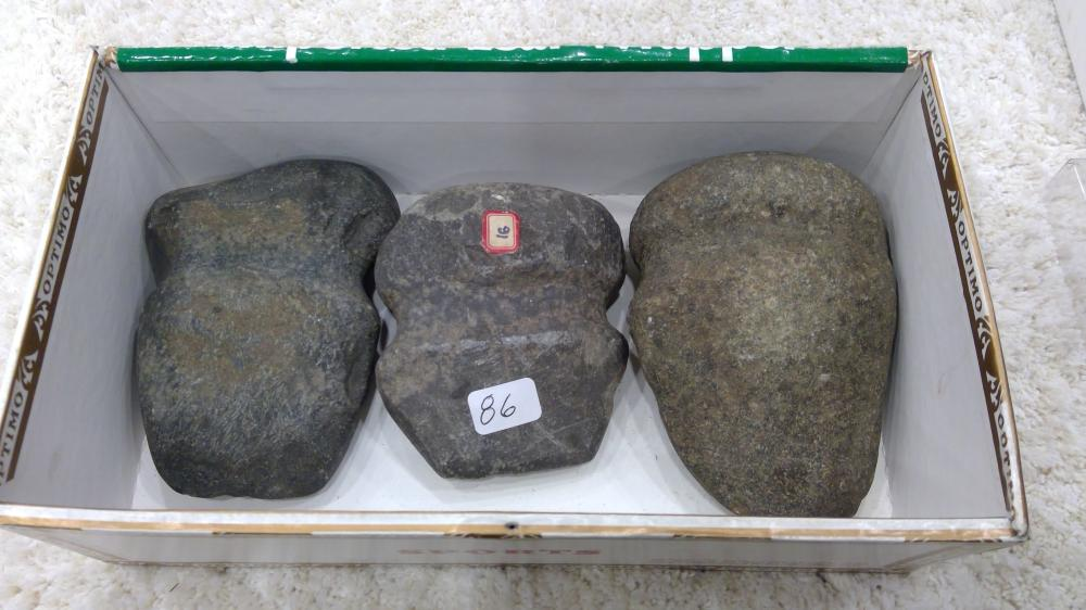 3 Sm. Sized Stone Axe Heads- Pa Types From The Dr. Honeywell Collection