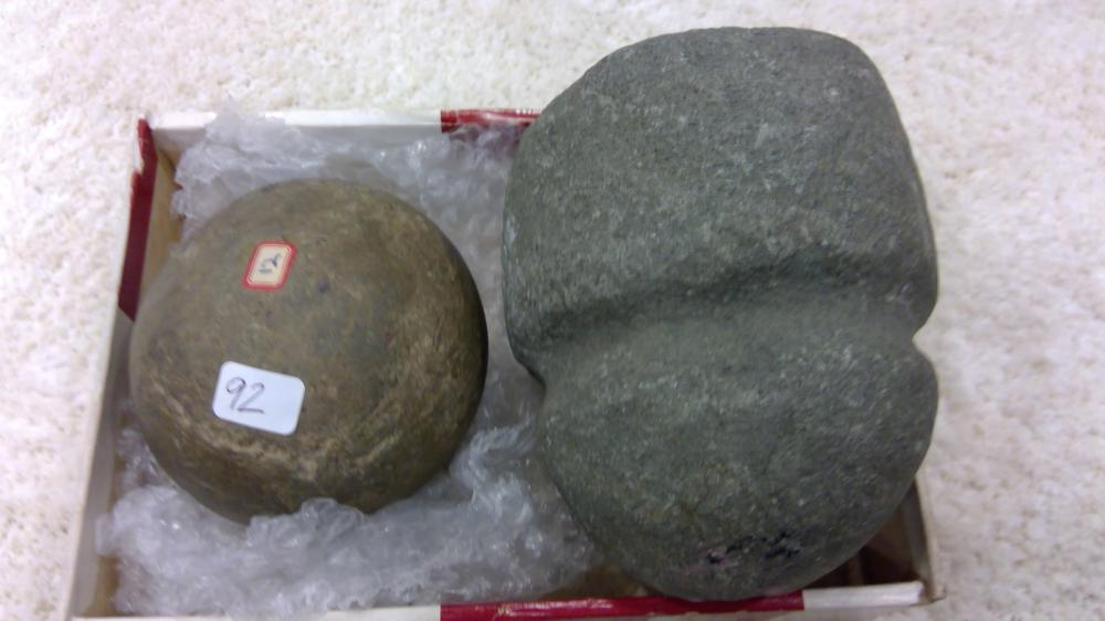 2 Stone Items- A Massive Full Grooved Maul Head & Stone Ball