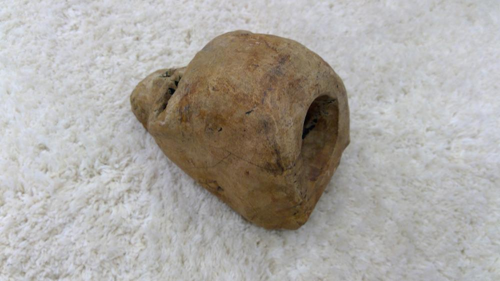 """Lot 93: Antique Carved Stone In Form Of Human Skull 3"""" Tall"""