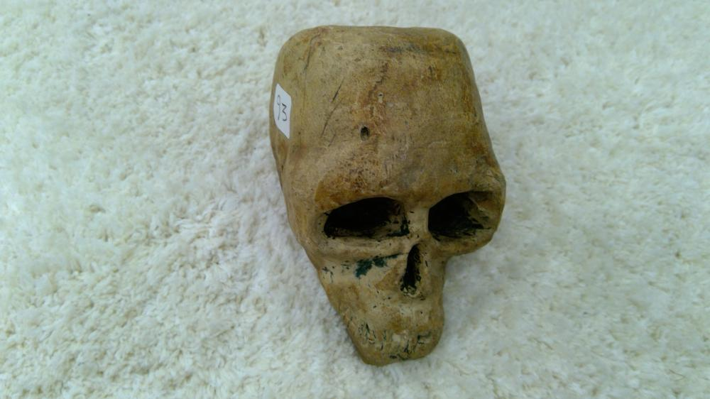 "Antique Carved Stone In Form Of Human Skull 3"" Tall"