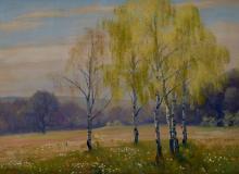 "ANTON FILKUKA (Austrian, 1888-1957), 'Birch Trees in Spring', oil on canvas, signed lower left ""A. Filkuka"", 49cm x 65cm"