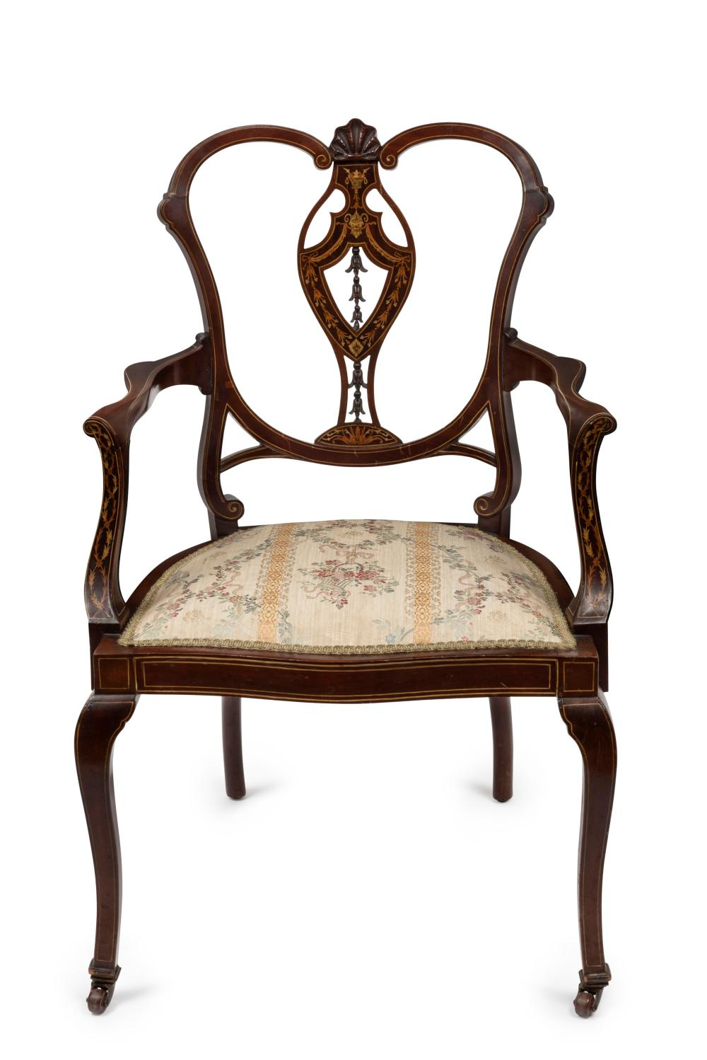An antique English mahogany parlour chair with fine marquetry inlay and brocade floral silk upholstery, circa 1900, 57cm across the arms