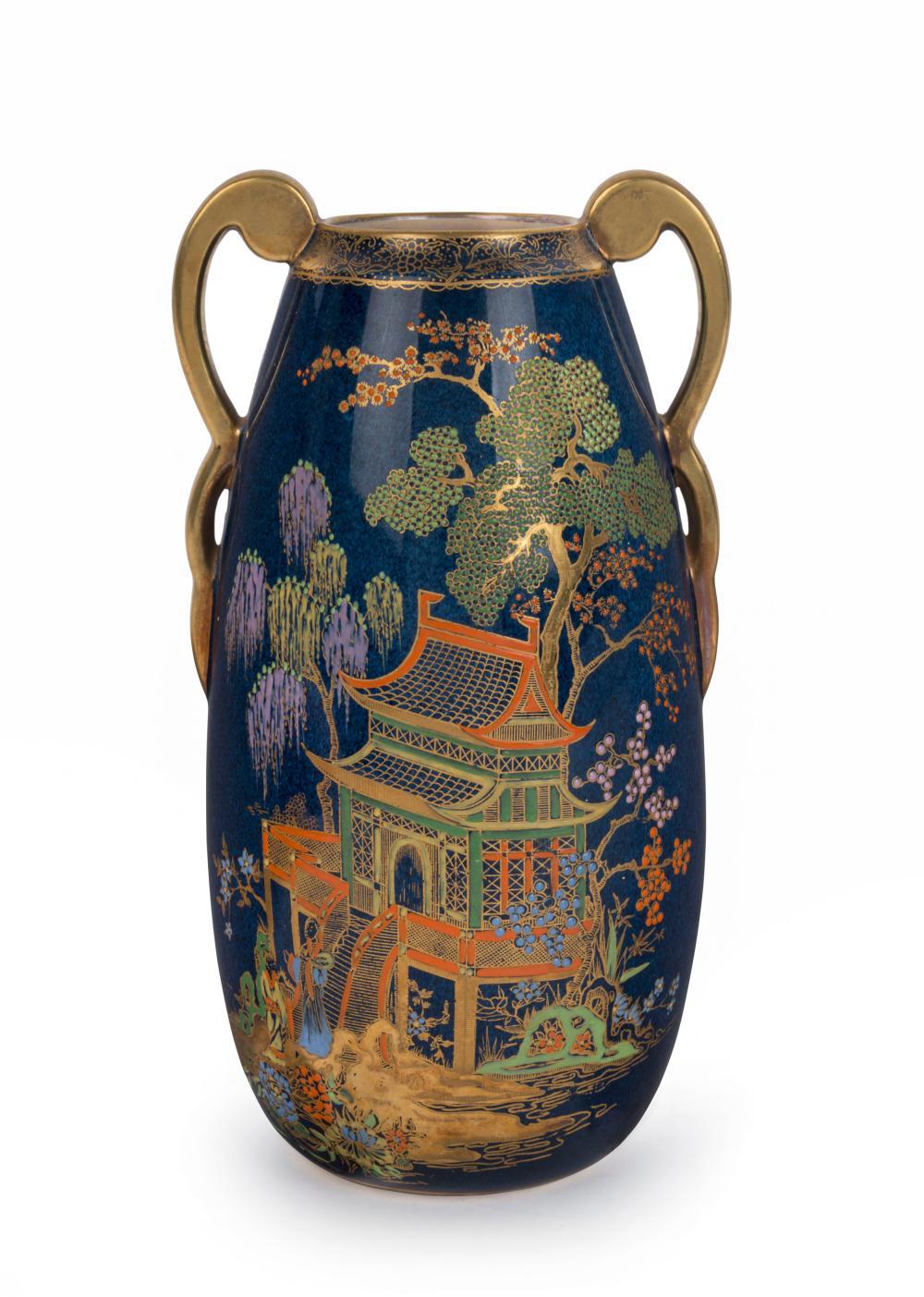 "CARLTON WARE ""Pagoda"" Bleu Royale English porcelain vase, circa 1930, black factory mark to base as well as original paper label, 21cm high"
