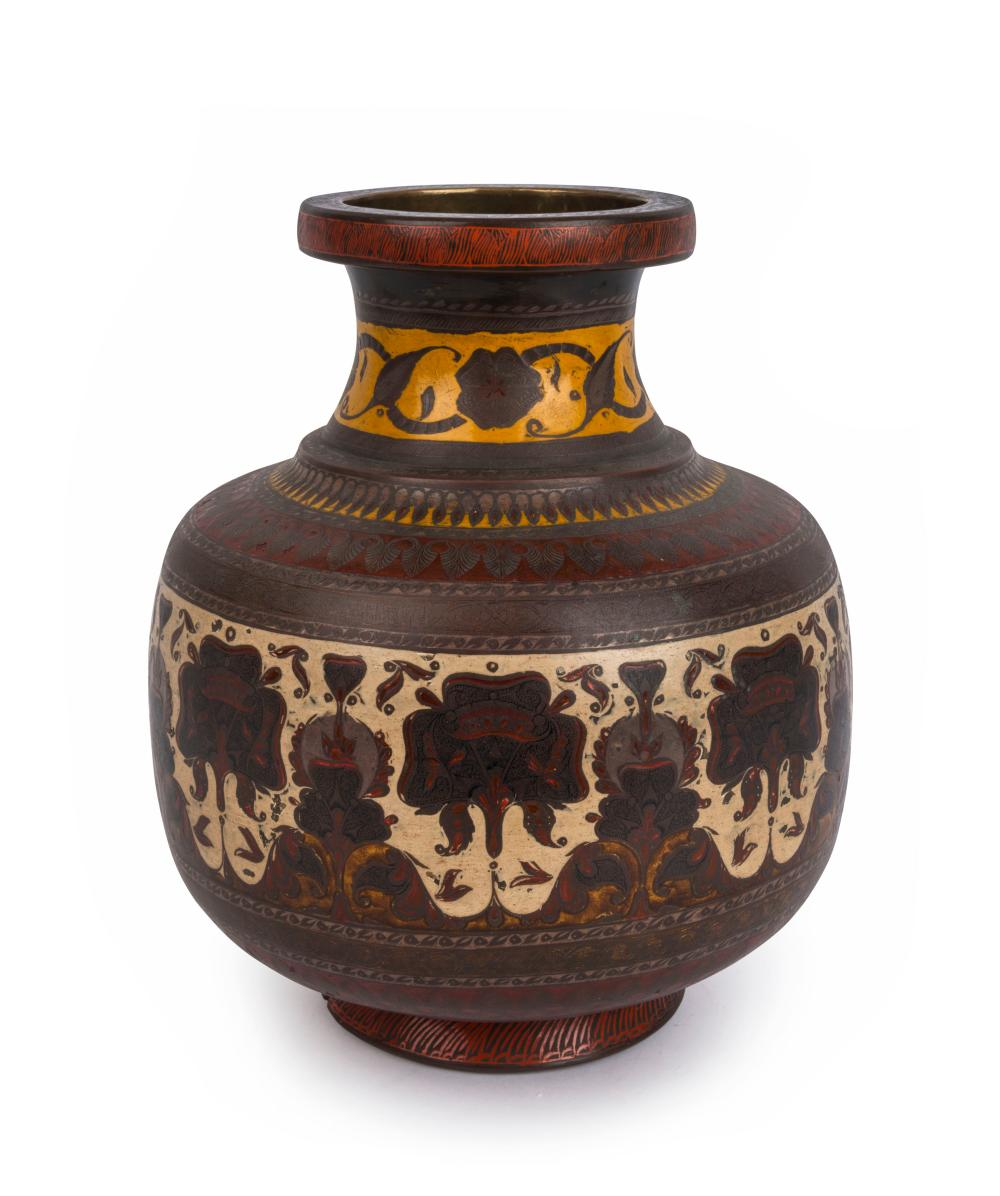 An antique Indian vase, bronze and enamel, 19th century, 25.5cm high