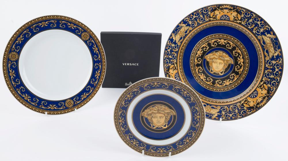 "VERSACE Rosenthal ""MEDUSA BLUE"" set of three German porcelain cabinet plates, one with original box, stamped ""Rosenthal, Versace, Medusa Blue"", 31cm, 27cm and 18.5cm diameter"