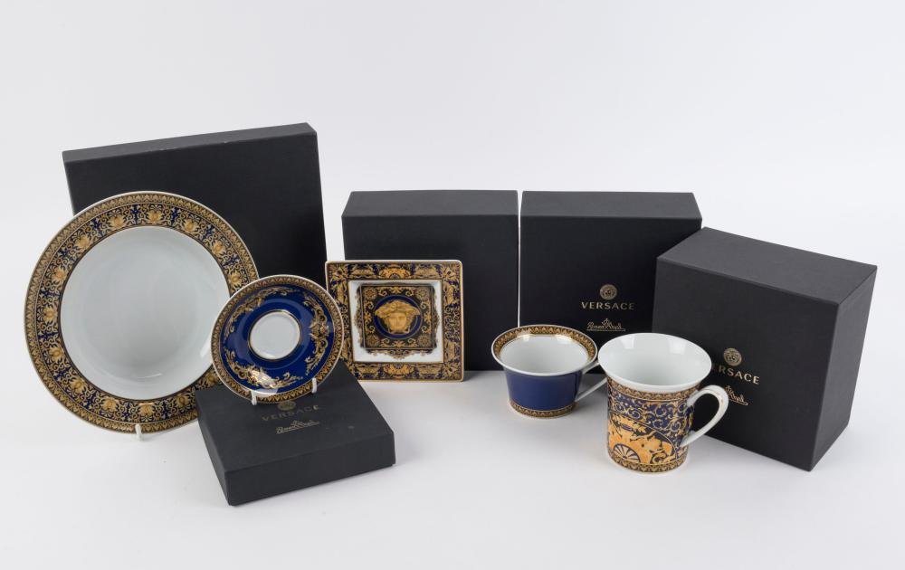 "VERSACE Rosenthal ""MEDUSA BLUE"" German porcelain bowl, dish, saucer, mug and cup, all with original boxes, (5 items), stamped ""Rosenthal, Versace, Medusa Blue"", the bowl 22.5cm diameter"