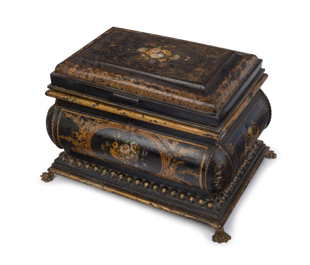 An antique English toleware box, original black lacquer Japanned finish with hand-painted floral vignettes and claw feet, 19th century, 24cm high, 36cm wide, 26cm deep