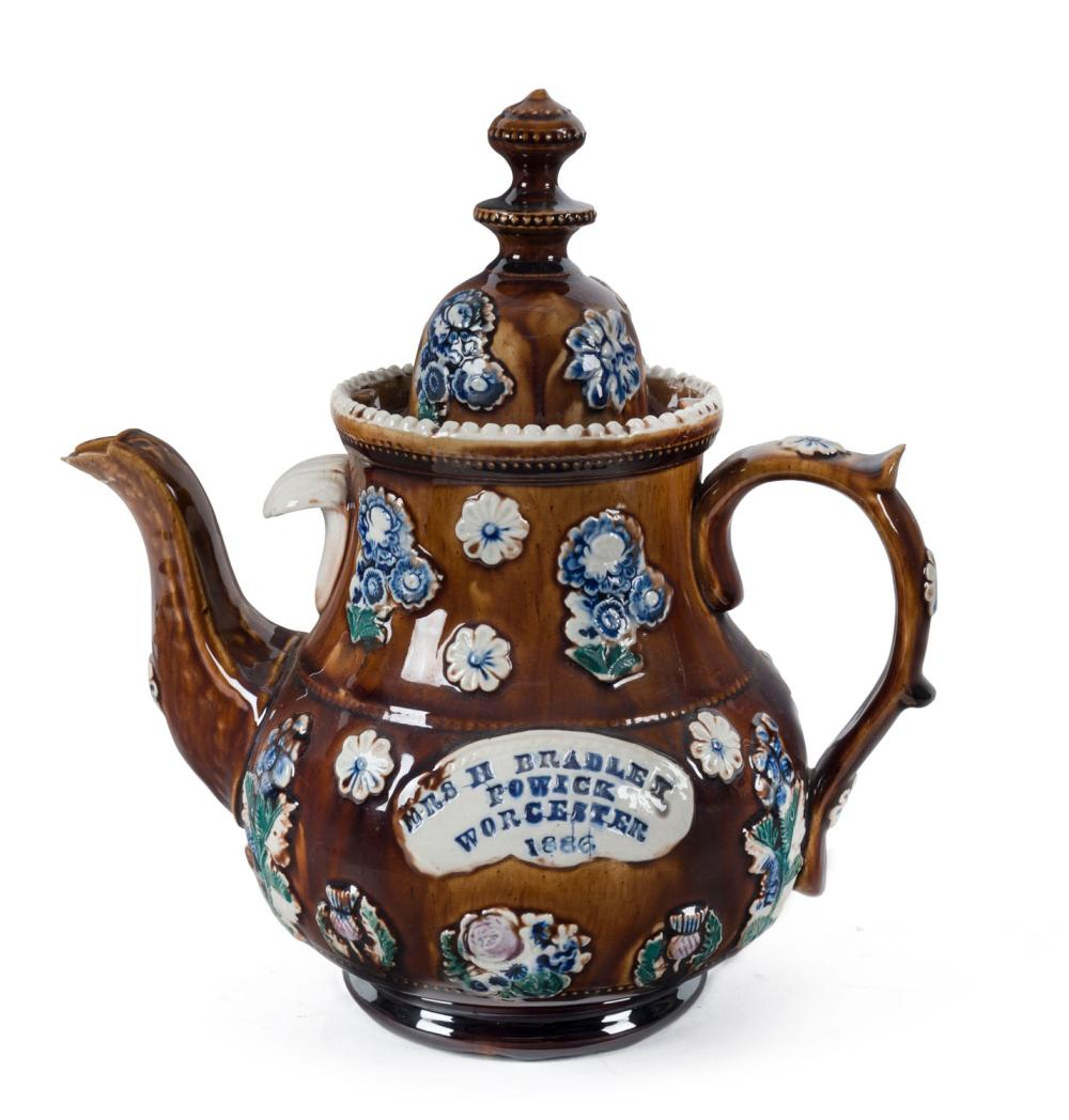 """BARGE WARE English pottery teapot with applied cartouche plaque """"Mrs H. Bradley, Powick, Worcester, 1886"""", 28cm high"""