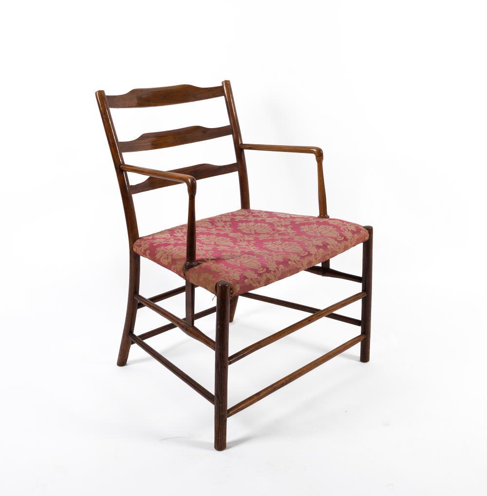 A Japanese ladderback oak carver chair, mid 19th century, 57cm across the arms
