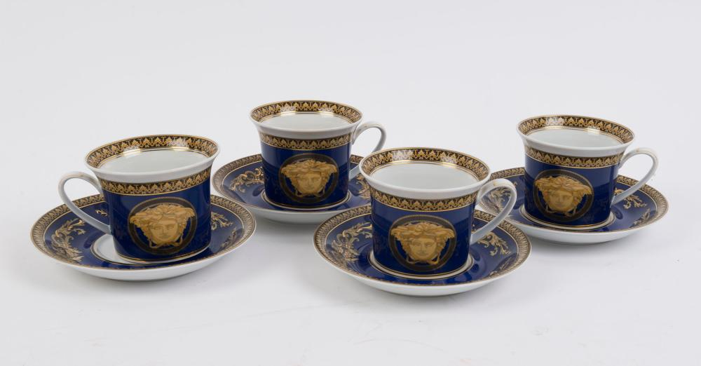 """VERSACE Rosenthal """"MEDUSA BLUE"""" four German porcelain cups and saucers, (8 items), stamped """"Rosenthal, Versace, Medusa Blue"""", the saucers 15.5cm diameter"""