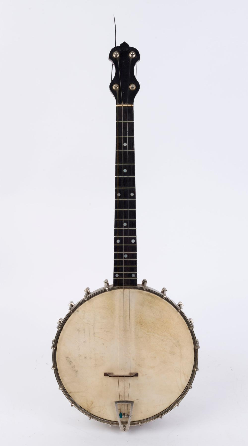 CUCKOO vintage English four string banjo, late 19th early 20th century, 27cm drumhead, 75cm long