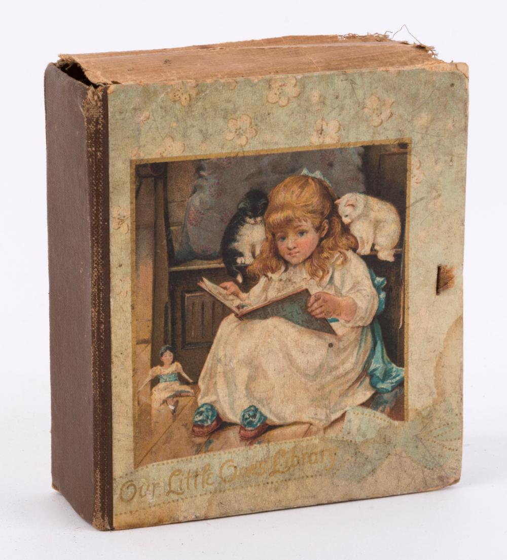 """""""Our Little Ones Library"""": collection of children's illustrated miniatures comprising """"The Cats Concert"""", """"The Tale of a Dog"""", """"A Rabbit's Tale"""", """"A Birthday Present"""", """"Snapdragon"""" and """"Three Little Maids from School"""", all but one with 1895-dated de"""