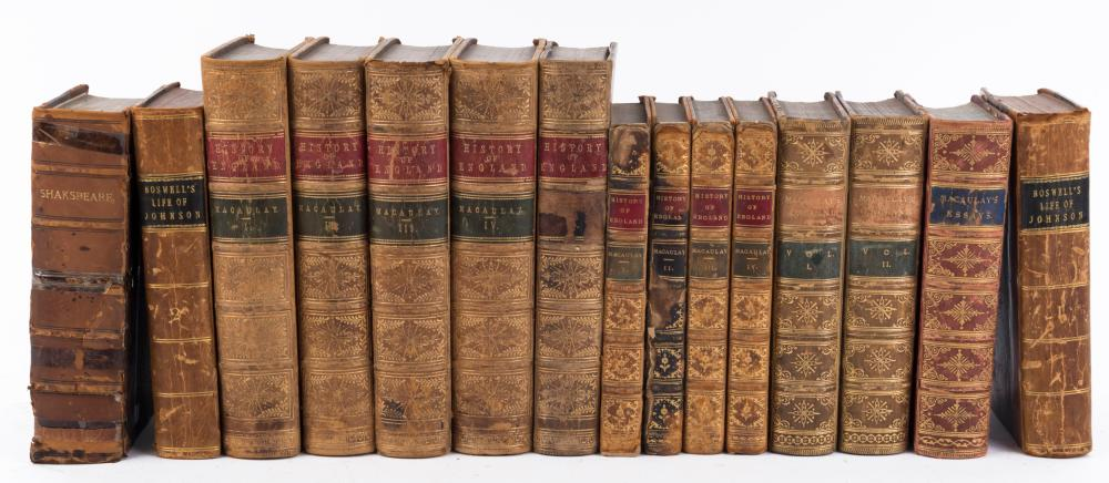 HISTORY OF ENGLAND antique leather bound books together with a volume of Shakespeare, 19th century, (15 items)