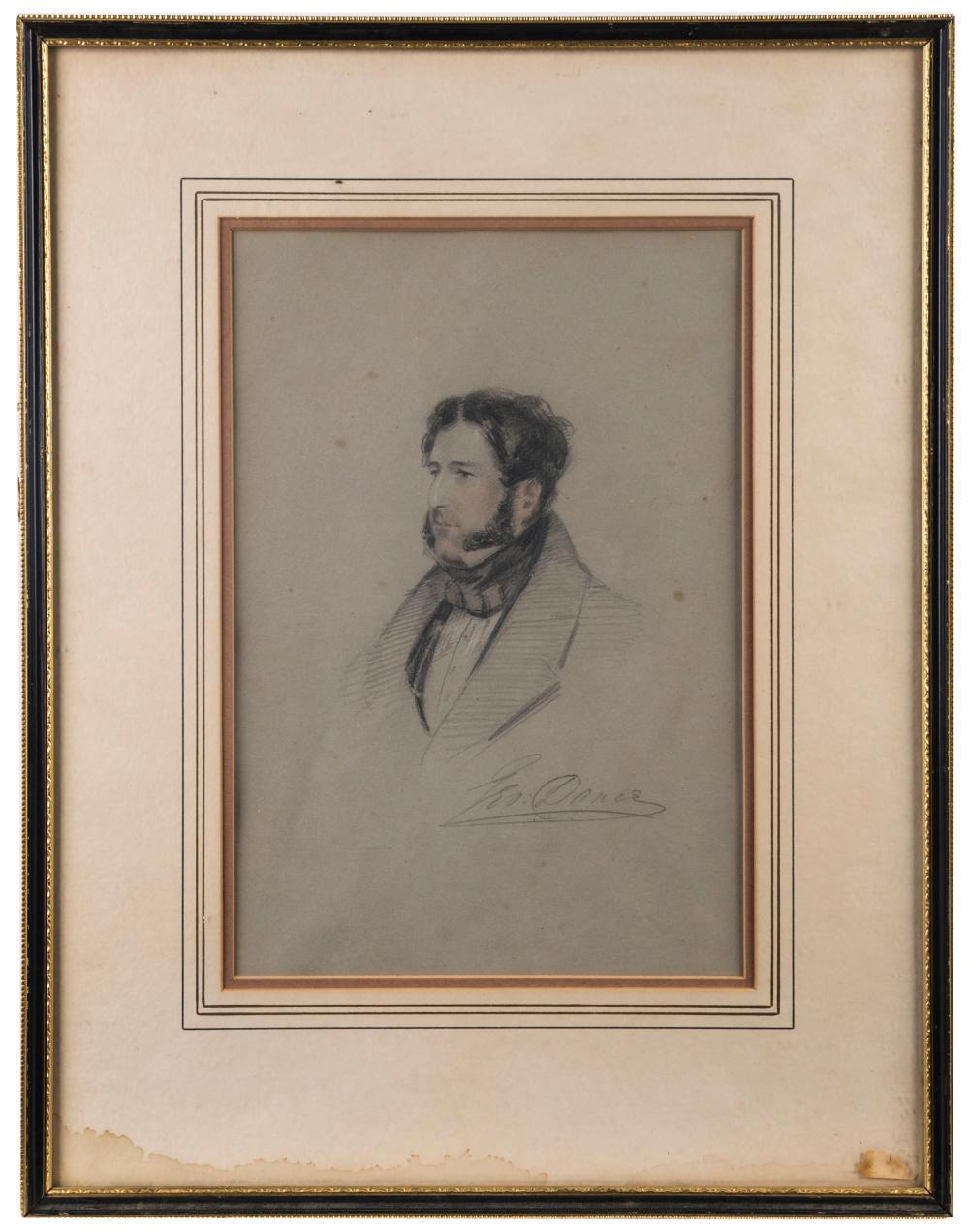 "GEORGE DANCE, (British, 19th century), portrait of a gentleman, pastel on paper, signed lower right ""Geo. Dance"", 32 x 23cm"