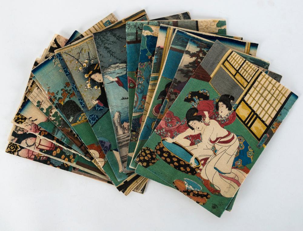 KUNISADA and KUNIYOSHI, crepe paper booklet with 16 Japanese