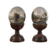 """ALFRED WILLIAM EUSTACE (1820-1907) pair of bush scenes oil paint on ostrich eggs signed """"A.W. Eustace"""" lower margin"""