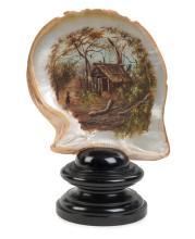 ALFRED WILLIAM EUSTACE (1820-1907), (attributed) Bush scene oil on pearl shell