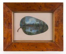ALFRED WILLIAM EUSTACE (1820-1907) (boating scene) oil painting on gumleaf Tasmanian huon pine frame