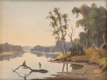 ALFRED WILLIAM EUSTACE (1820-1907) (attributed) Aborigines and mia mia oil on board