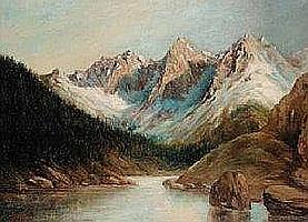 Metzger Father Henry Untitled - Rocky Mountains oil on canvas. 16 22 1 352
