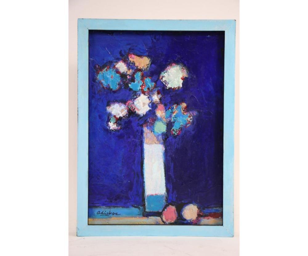 DAVID ADICKES FLOWERS VASE AGAINST BLUE PAINTING