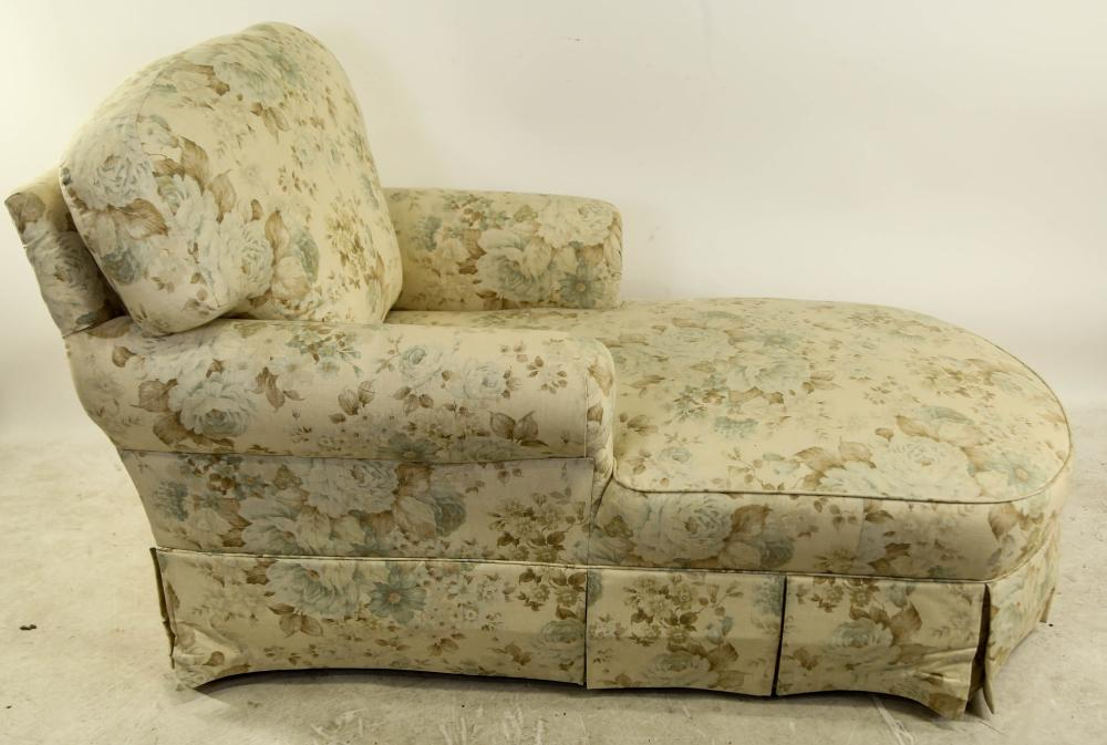 FLORAL PRINT UPHOLSTERED CHAISE LOUNGE CHAIR