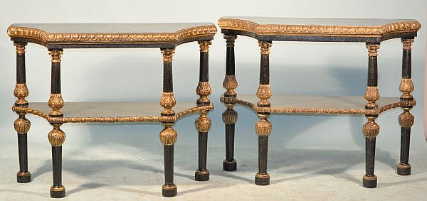 6PAIR OF TILED MARBLE CLAD & GILDED CONSOLE TABL