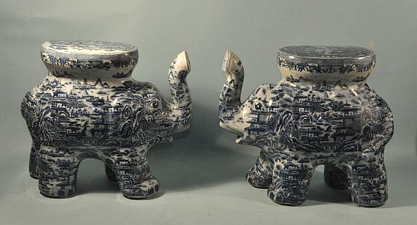 PAIR OF CHINESE BLUE & WHITE PORCELAIN STOOLS