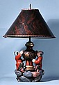 WOOD CARVED AND PAINTED CHINESE LAMP