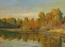 """OVANES BERBERIAN """"REFLECTIONS OF FALL"""" PAINTING"""