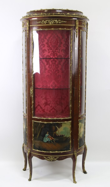 19th Cent Mohogany French Style Display Cabinet