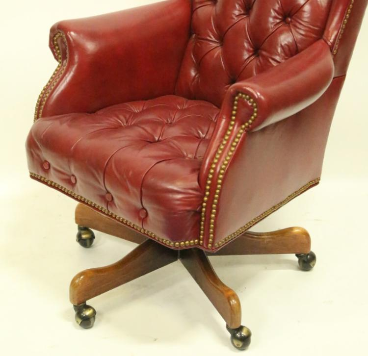 Red Leather Wingback Chair For Sale: BUTTON-TUFTED RED LEATHER OFFICE WING CHAIR