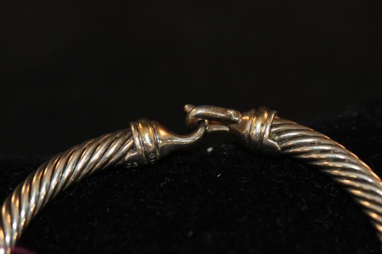 Signed David Yurman 18kt & Sterling Cable