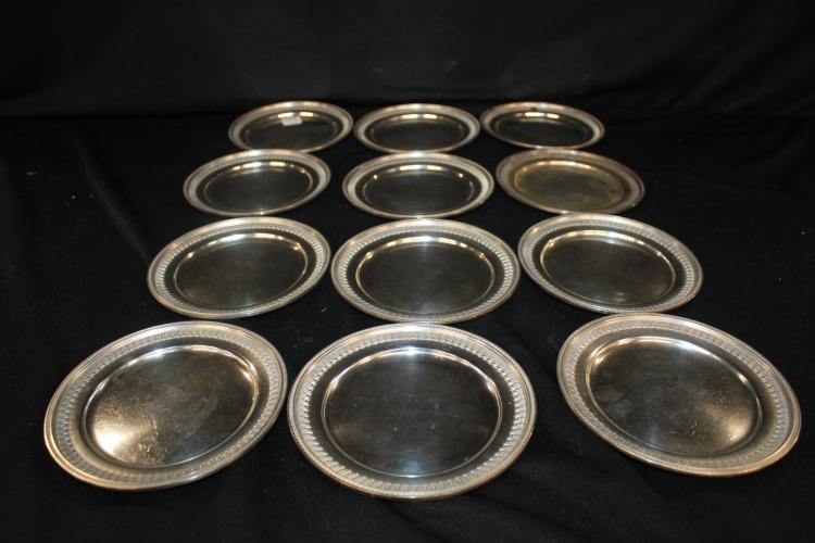 12pc Sterling Plates P51-1 marked Sterling