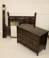 2pc Bed & Dresser, carved figure on headboard,