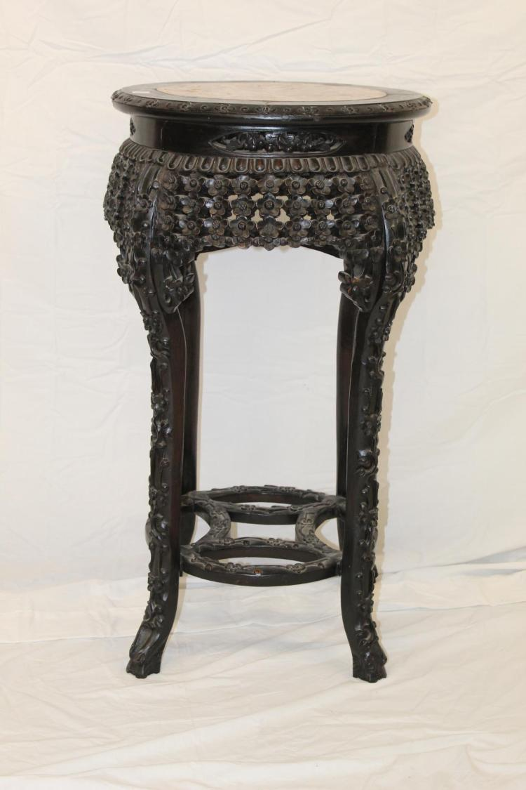 Antique chinese heavy carved plant stand for Asian antiques uk