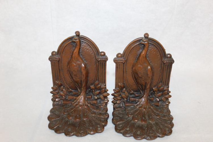 Bronze Peacock Bookends 641 Marked Weidlien