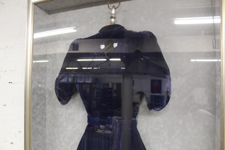 Victorian Navy Blue Wedding Dress In Shadow Box,Guest Wedding Dress Women