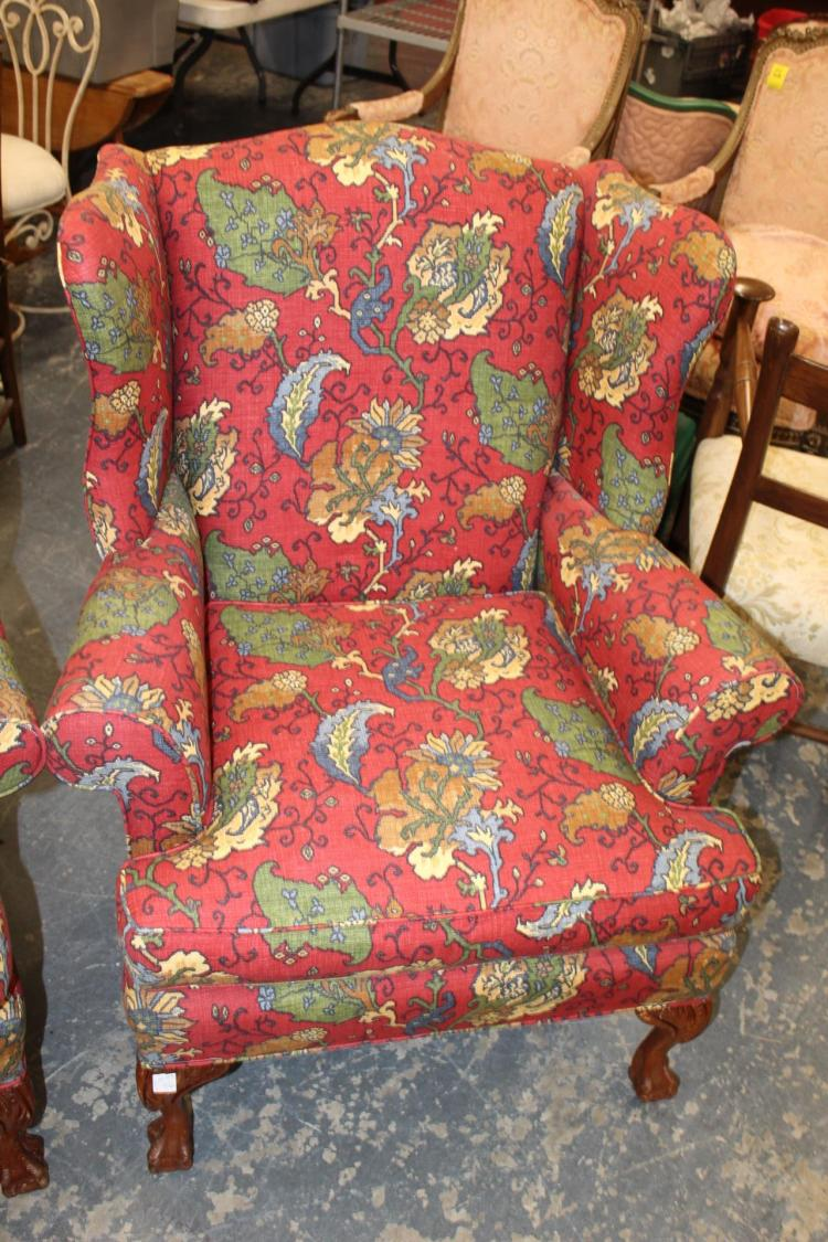 Pair Wing Back Chairs Red Green Brown Floral