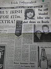 Irish Independent Newspaper Front Page Dated 10